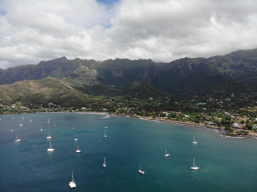 yachts in bay Taiohae - nuku hiva - marquesas islands - french polynesia