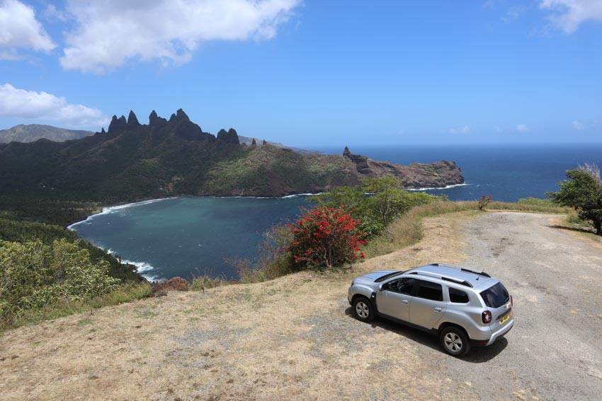 driving in marquesas islands - aapaka cliffs nuku hiva - french polynesia