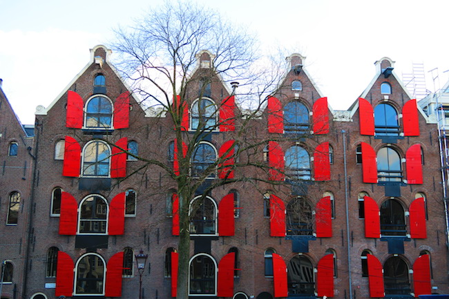 Amsterdam Canal Houses with oversized shutters